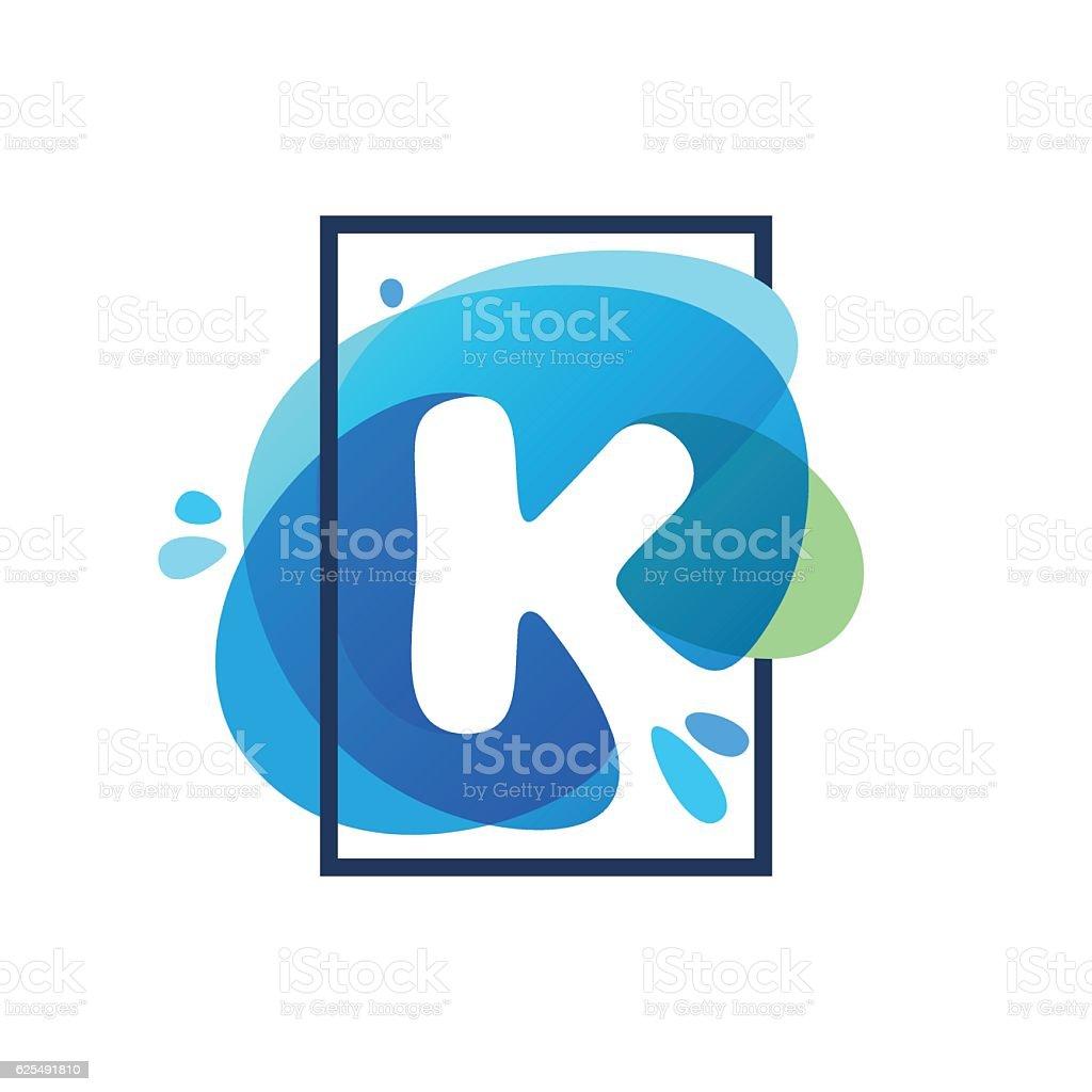 K letter icon in square frame at blue watercolor splash vector art illustration