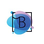 B letter icon in square frame at blue watercolor splash