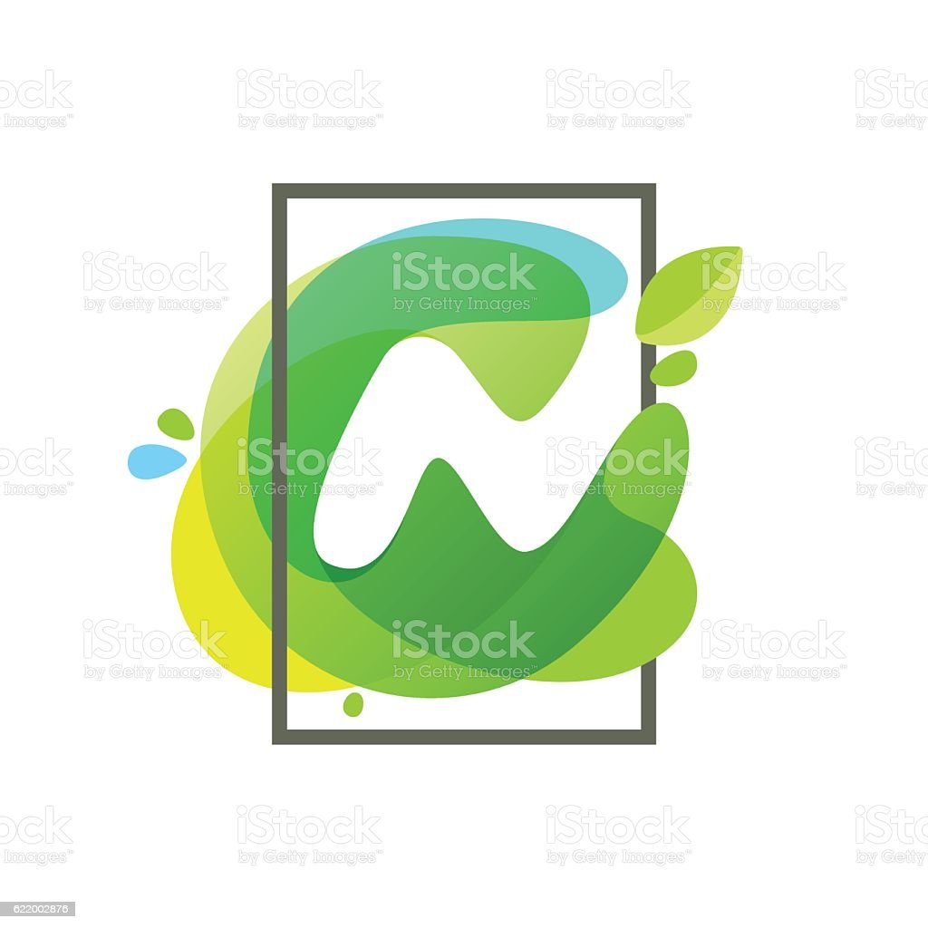 N letter icon in square frame at green watercolor background vector art illustration