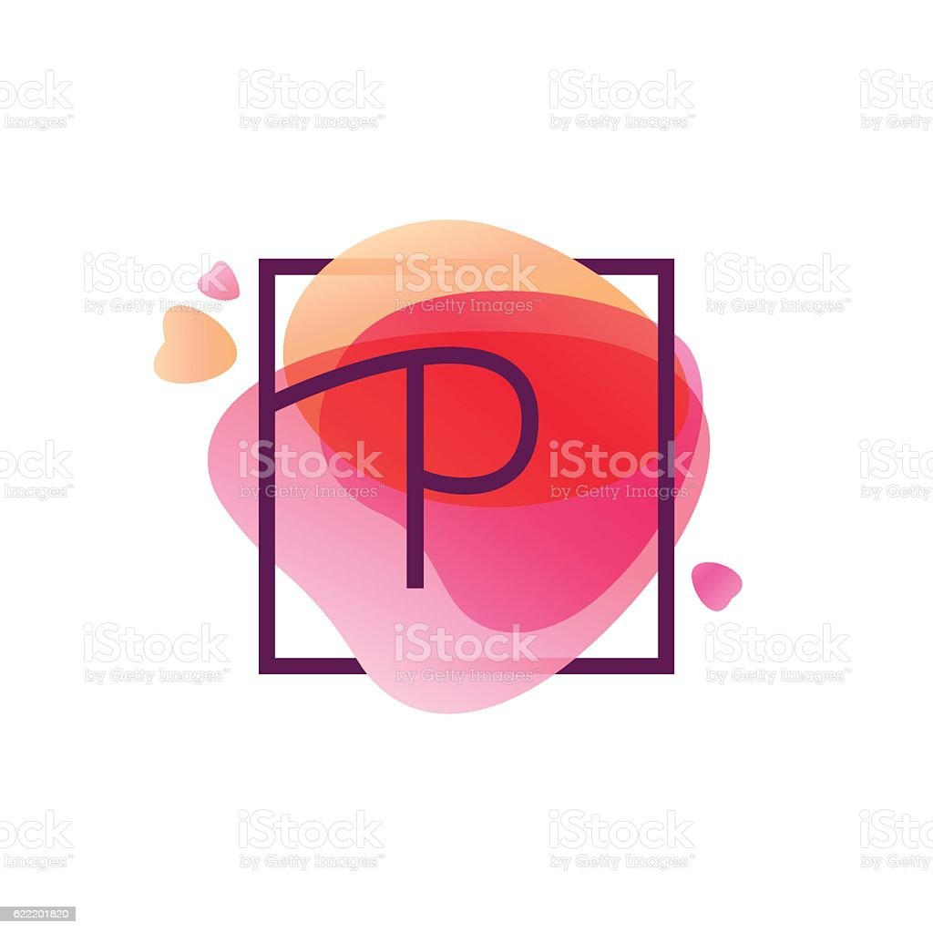 P letter icon in square frame at pink watercolor background. vector art illustration