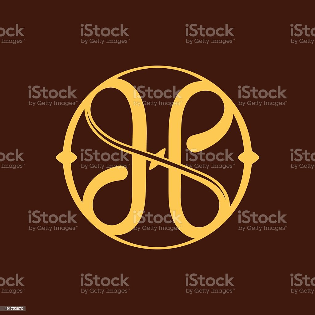 H letter icon in vintage circle. vector art illustration