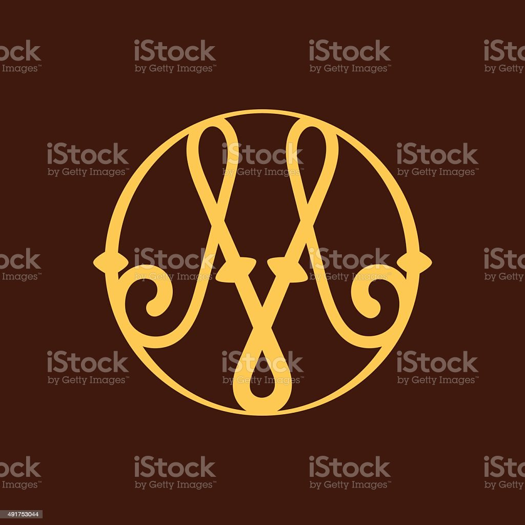 M letter icon in vintage circle. vector art illustration