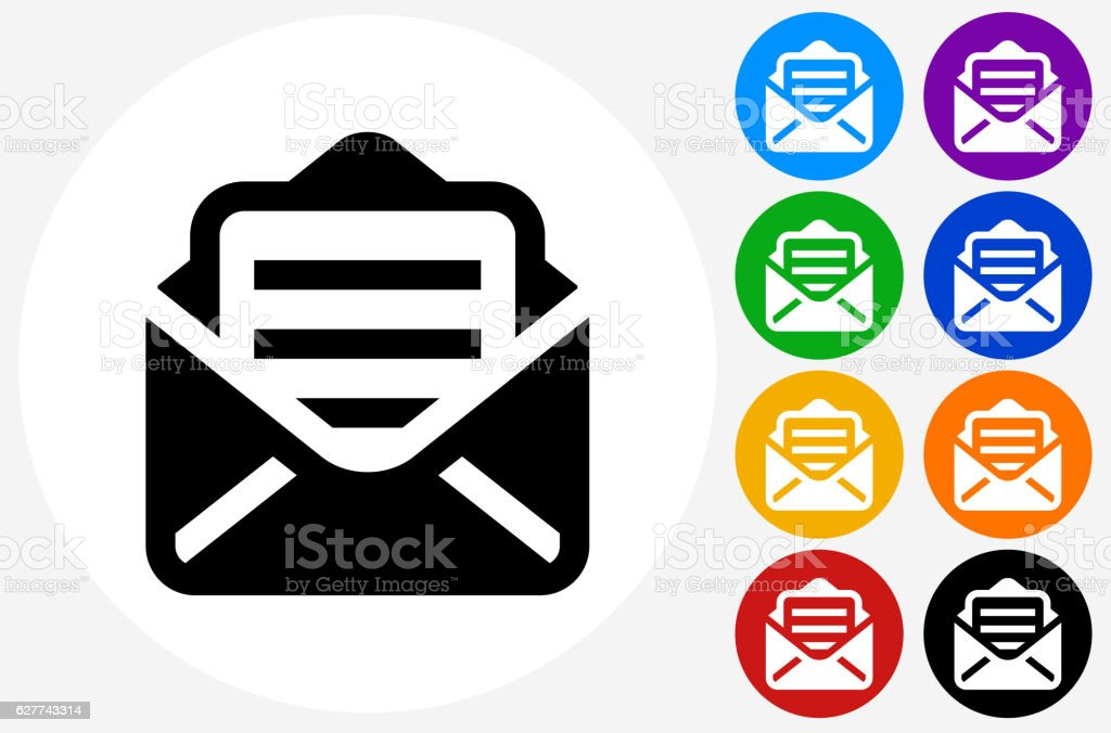 Letter Icon on Flat Color Circle Buttons vector art illustration