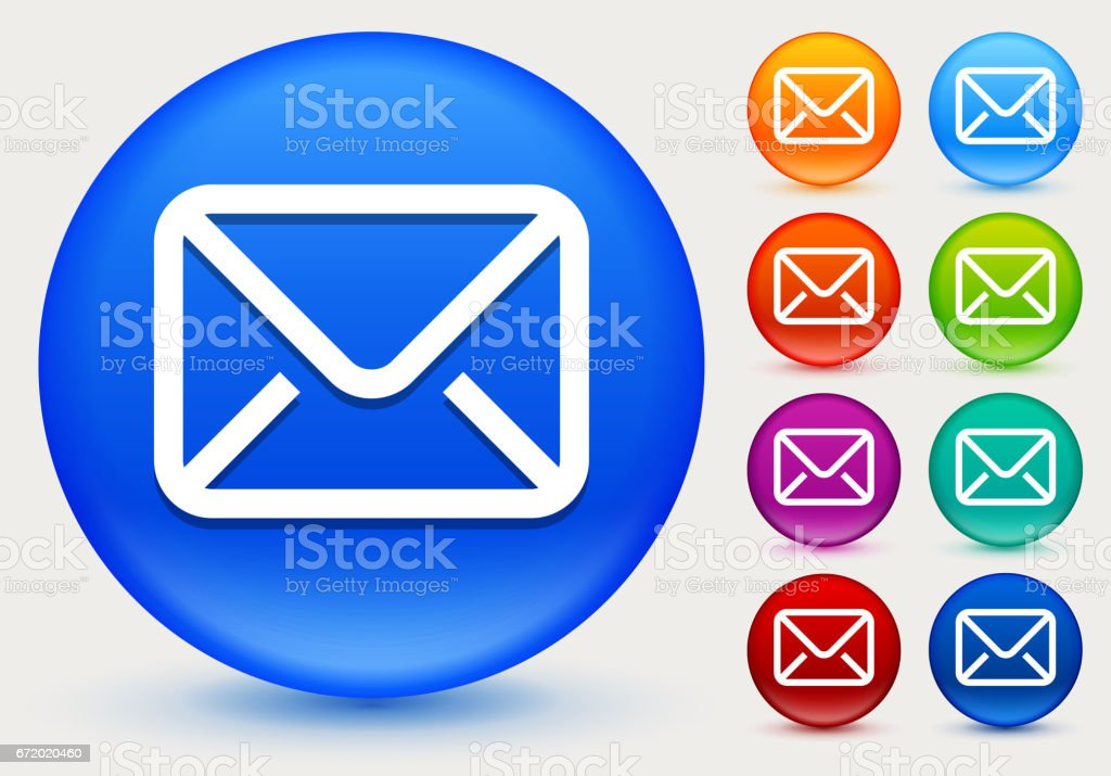 Letter Icon on Shiny Color Circle Buttons vector art illustration