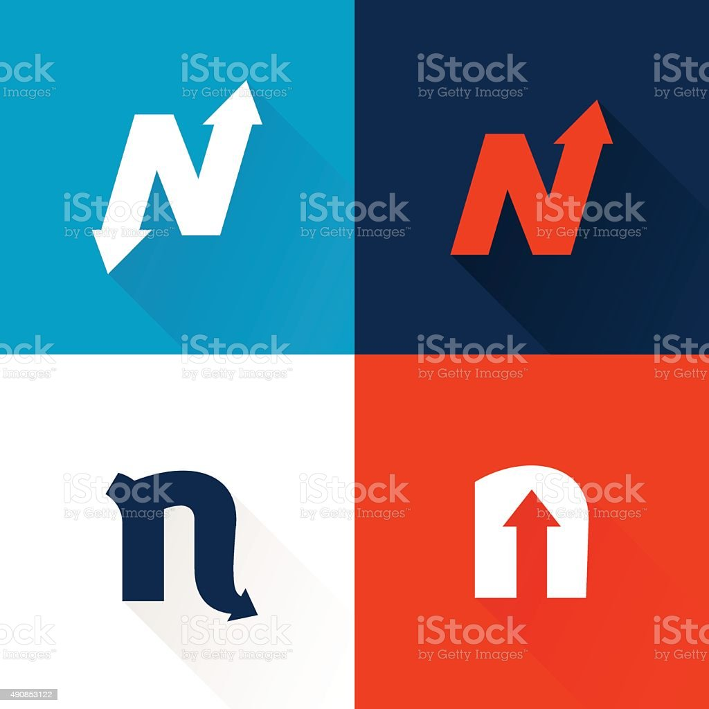 N letter icon with arrows set. vector art illustration