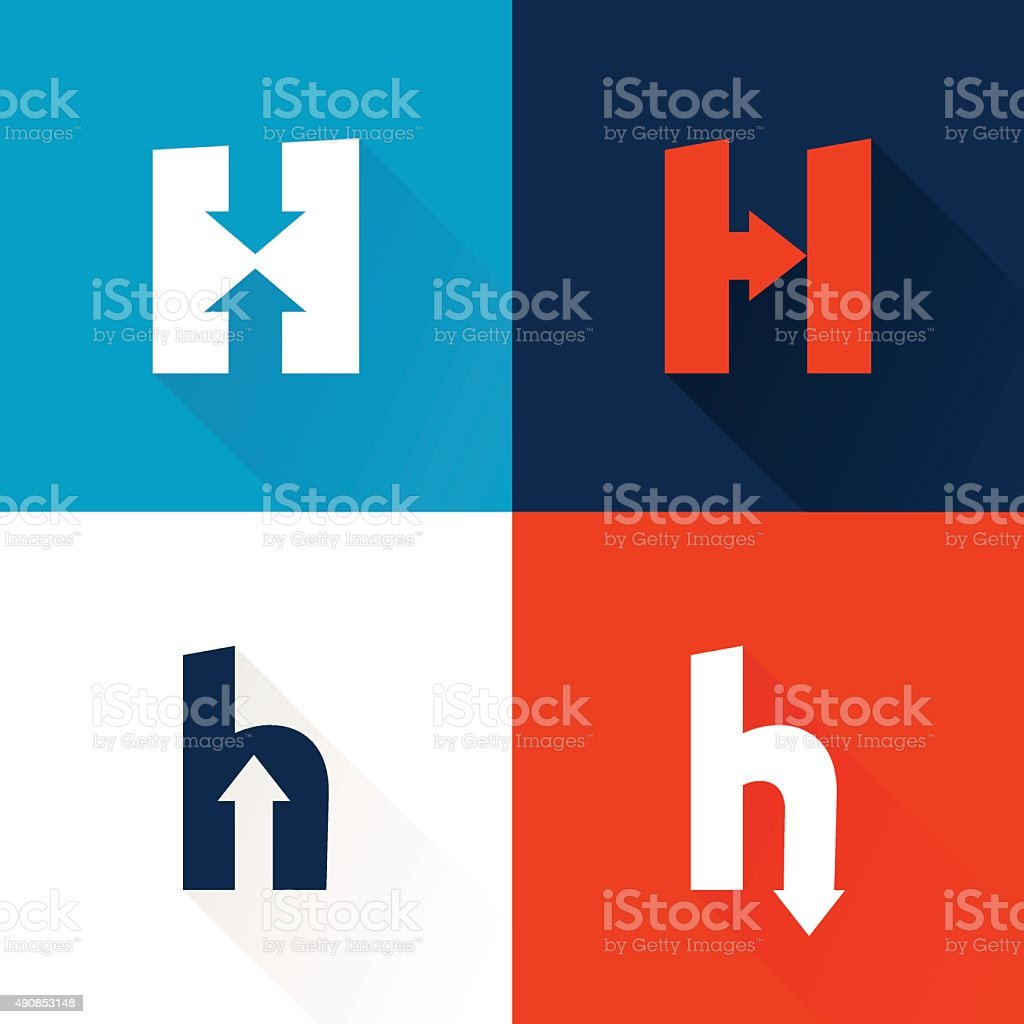 H letter icon with arrows set. vector art illustration