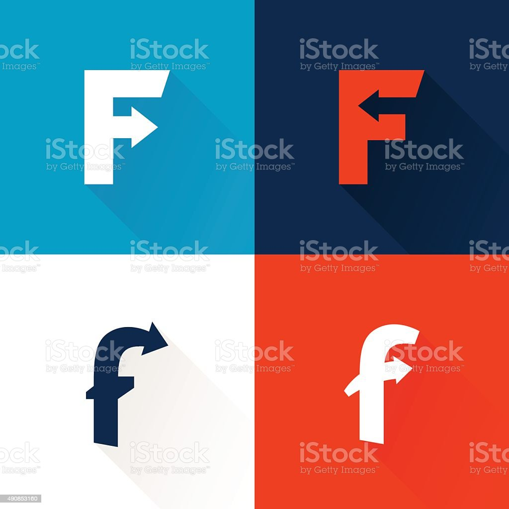 F letter icon with arrows set. vector art illustration