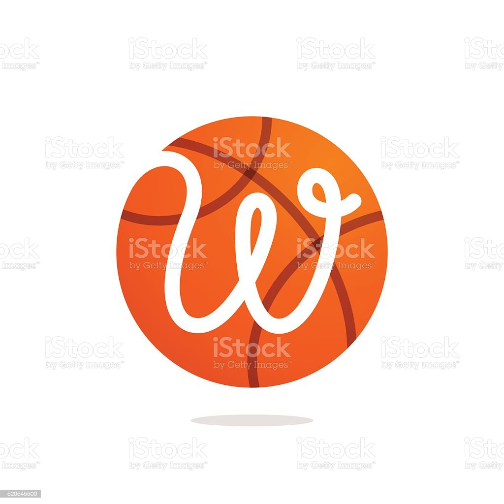W letter icon with basketball ball. vector art illustration