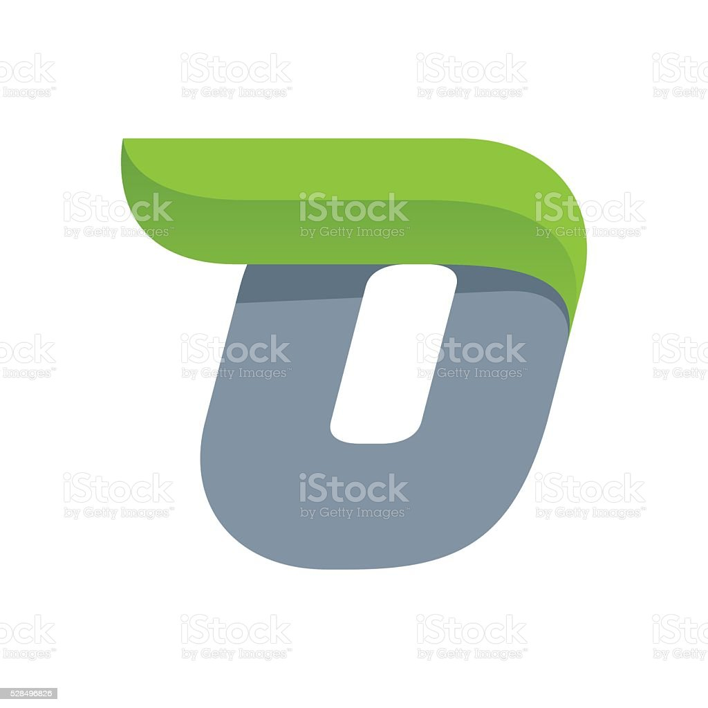 O letter icon with green leaf. vector art illustration
