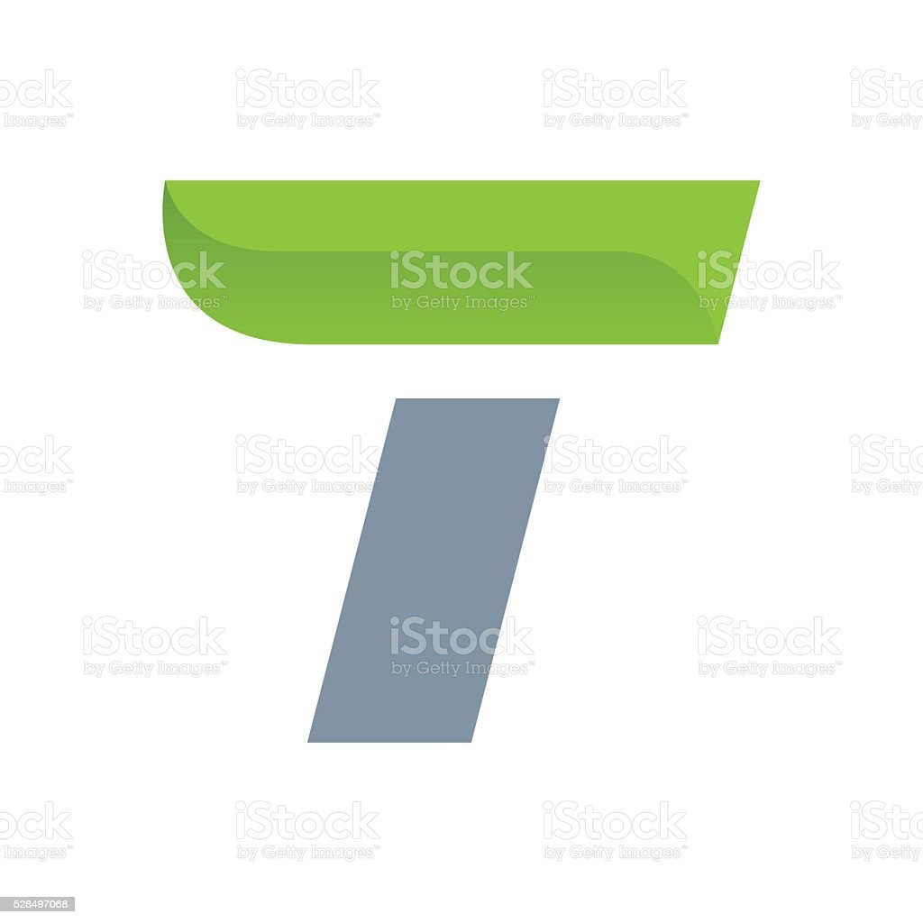 T letter icon with green leaf. vector art illustration