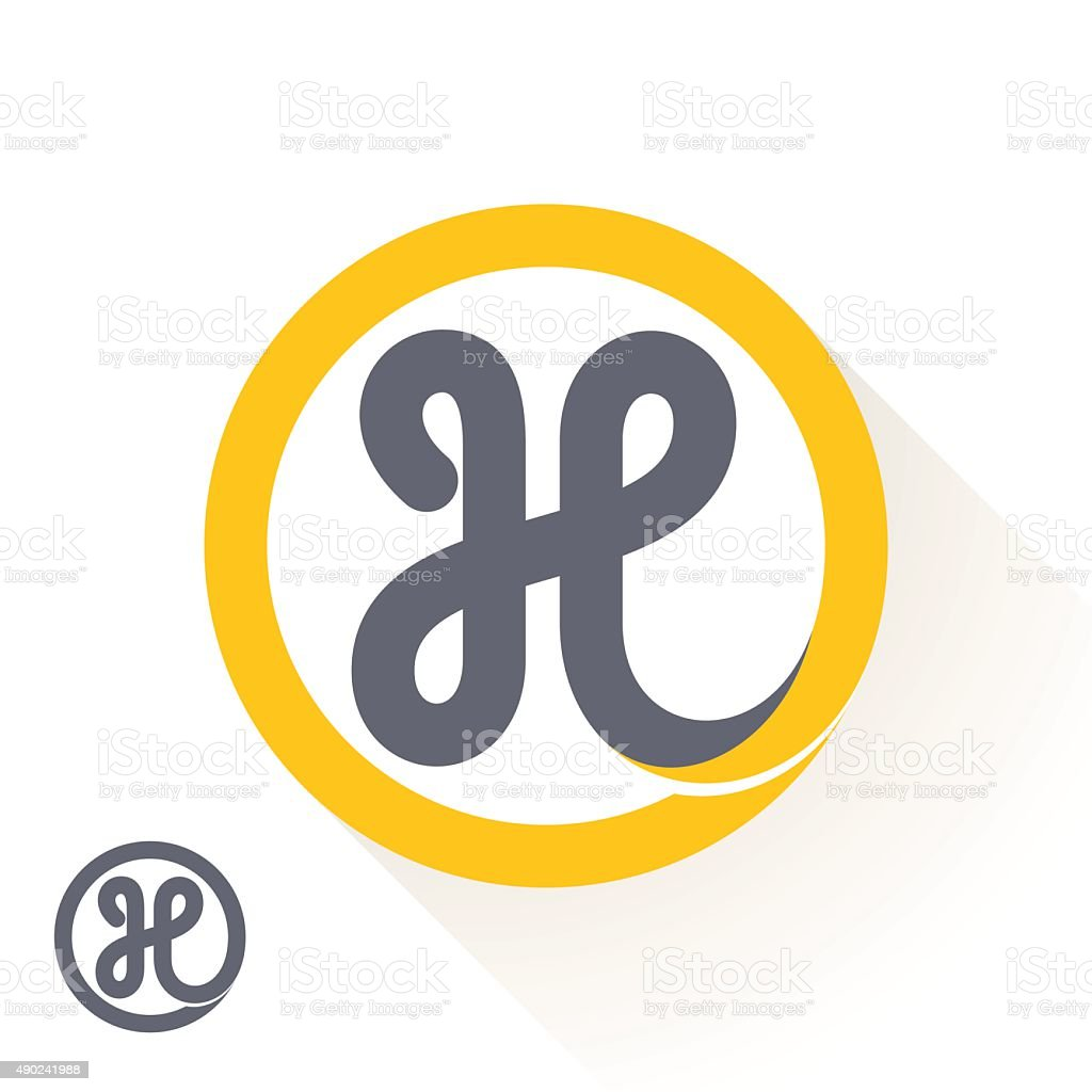 H letter icon with round line icon. vector art illustration
