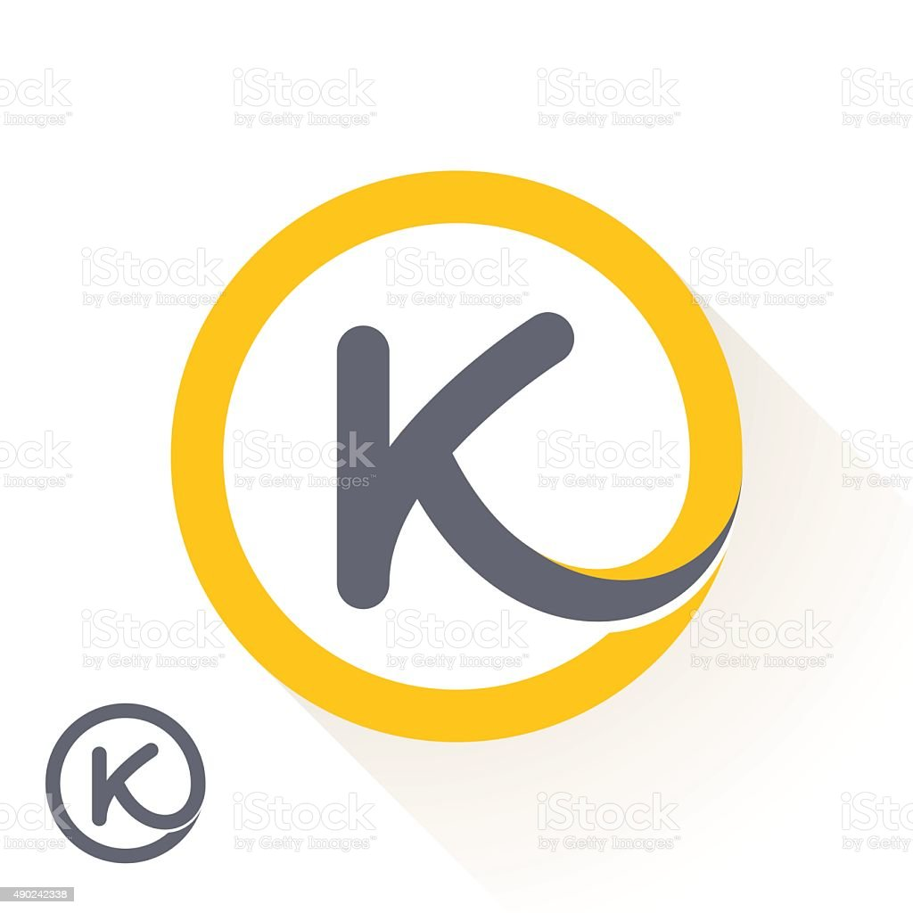 K letter icon with round line icon. vector art illustration