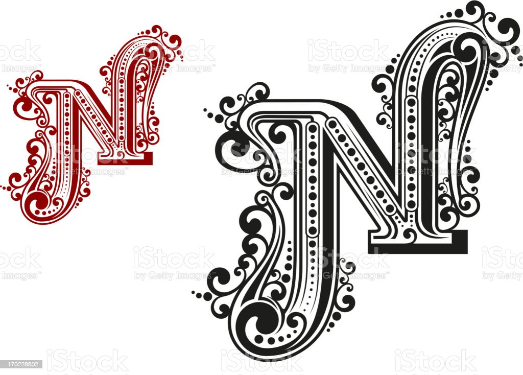 N letter in vintage calligraphic style royalty-free stock vector art