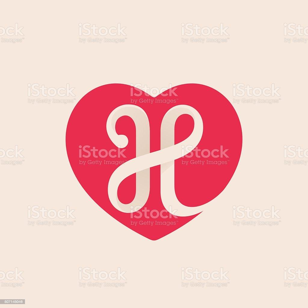 H letter inside heart for st. Valentine's day design. vector art illustration