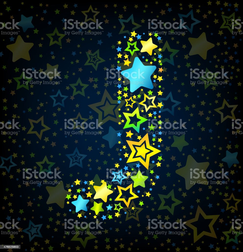 Letter J cartoon star colored royalty-free stock vector art
