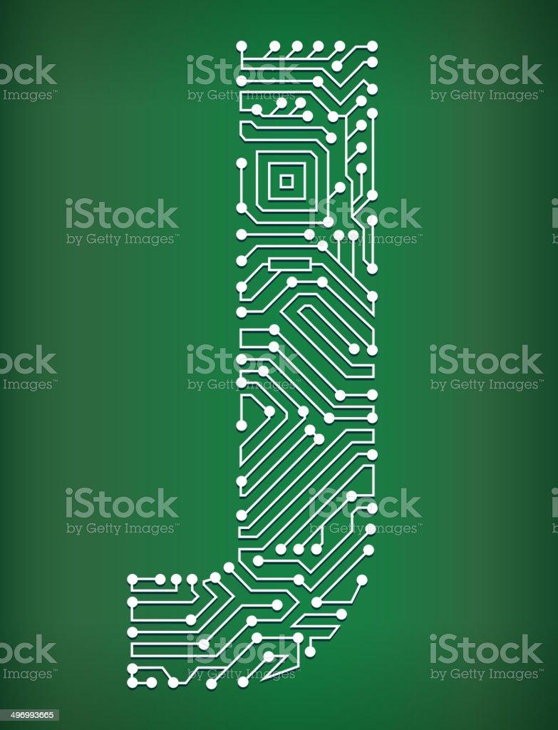 Letter J Circuit Board royalty free vector art background royalty-free stock vector art