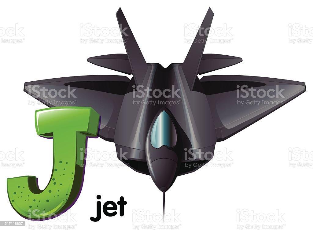 Letter J for jet vector art illustration