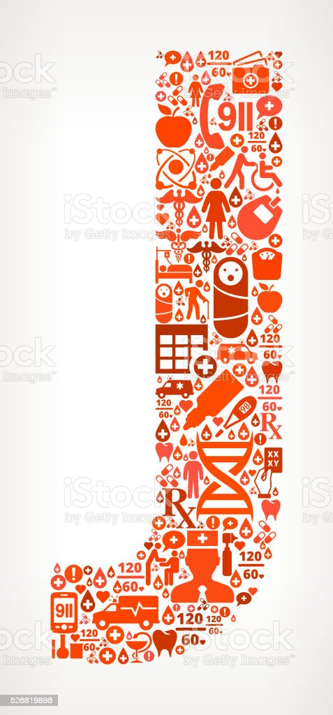 Letter j Healthcare and Medical Red Icon Pattern vector art illustration