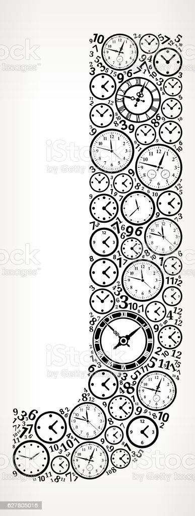 Letter J on Time and Clock Vector Icon Pattern vector art illustration