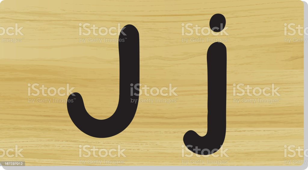 Letter J on wooden board royalty-free stock vector art