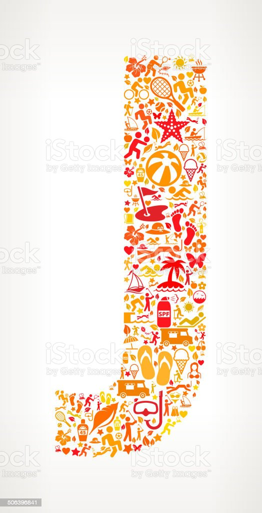 Letter J Summer and Vacation royalty free vector art Pattern royalty-free stock vector art