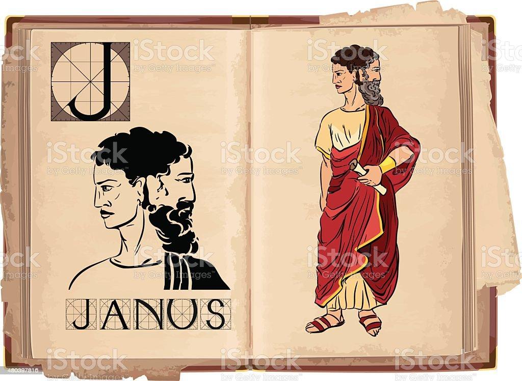 letter J with Janus vector art illustration