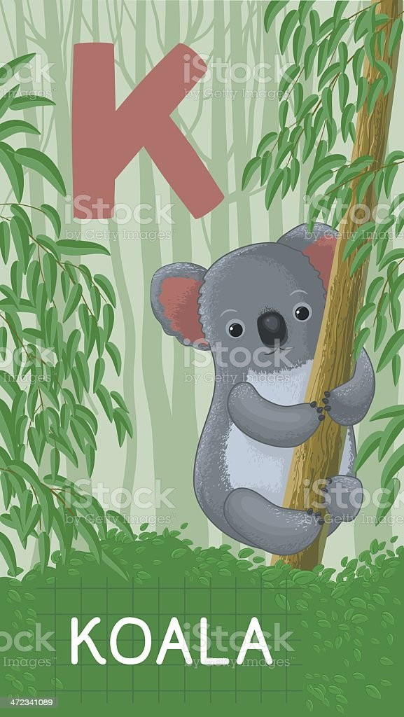 Letter K, animal ABC royalty-free stock vector art