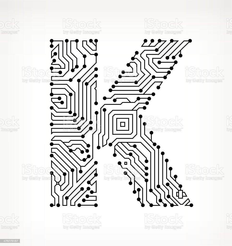 Letter K Circuit Board on White Background royalty-free stock vector art