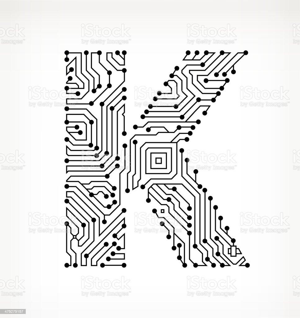 Letter K Circuit Board on White Background vector art illustration