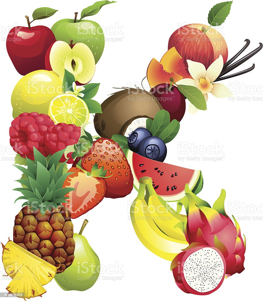 Letter K composed of different fruits with leaves vector art illustration