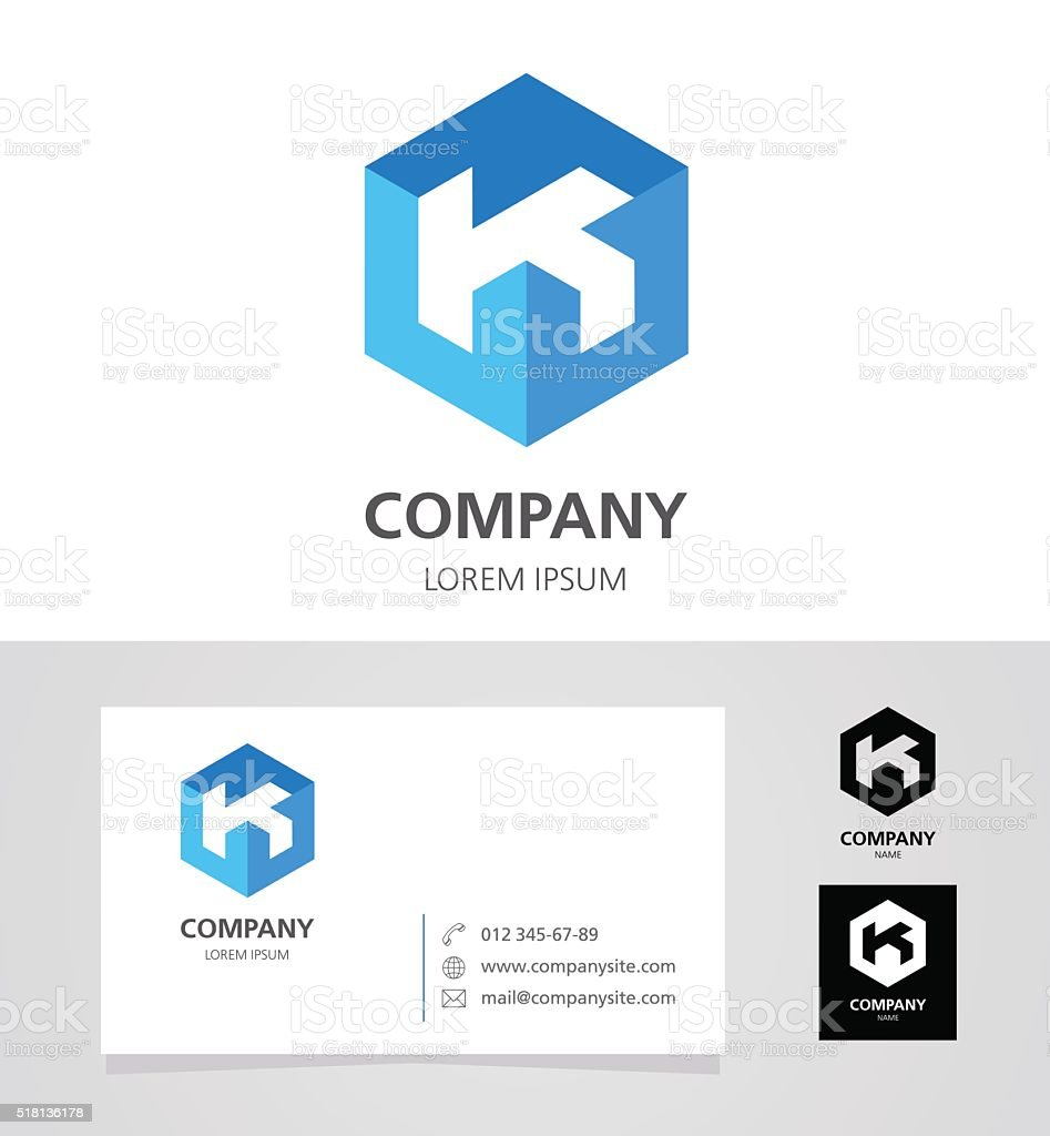 Letter K - Emblem Design Element with Business Card - illustration vector art illustration