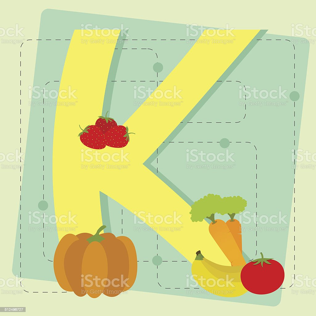 Letter 'k' from stylized alphabet with fruits and vegetables vector art illustration