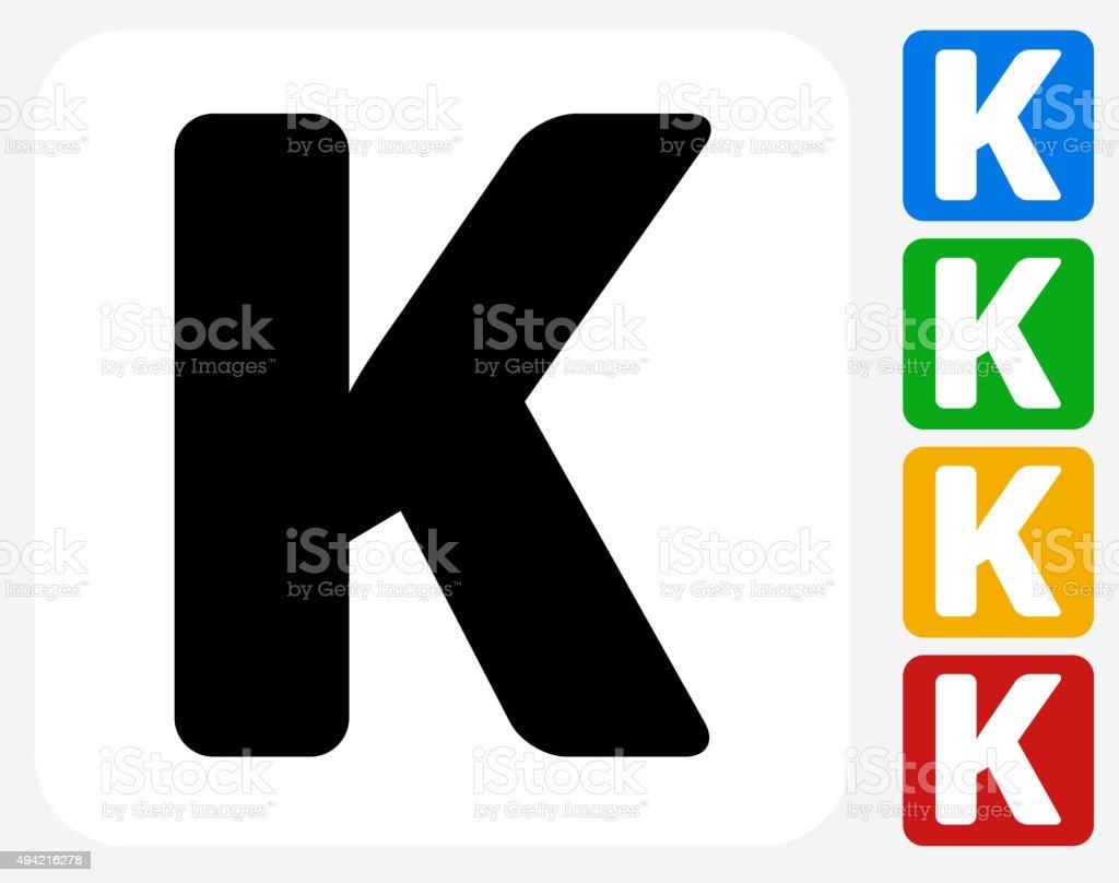 Letter K Icon Flat Graphic Design vector art illustration