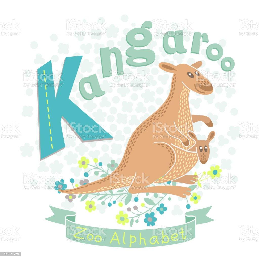 Letter K - Kangaroo vector art illustration