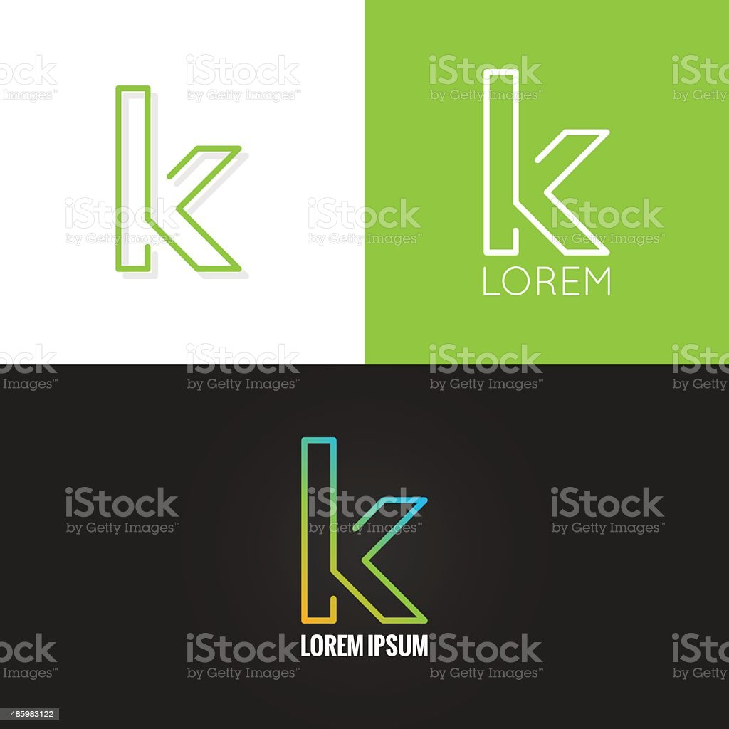 letter K logo alphabet design icon set background vector art illustration