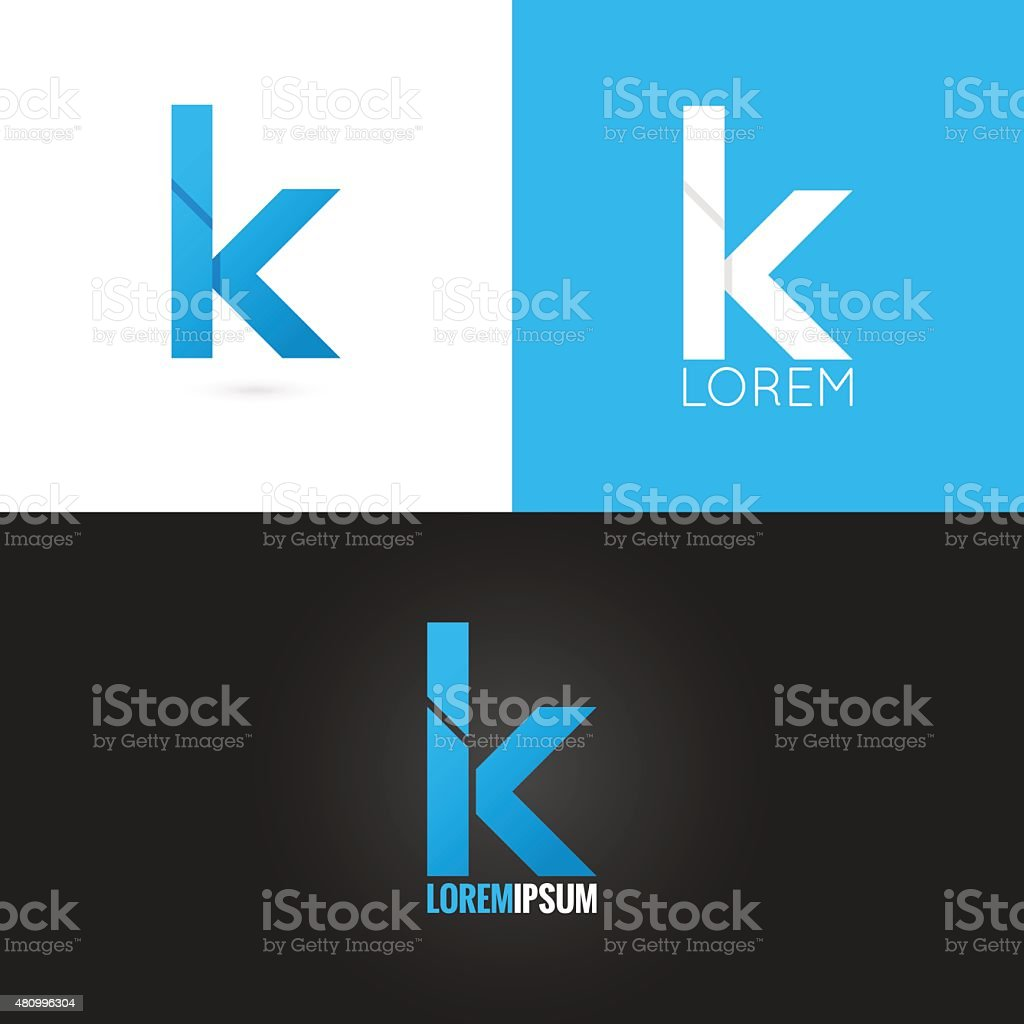 letter K logo design icon set background vector art illustration