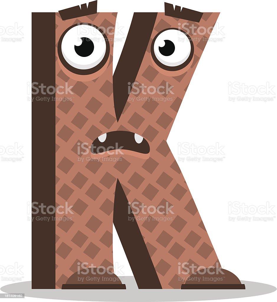 Letter K monster. Vector illustration. royalty-free stock vector art