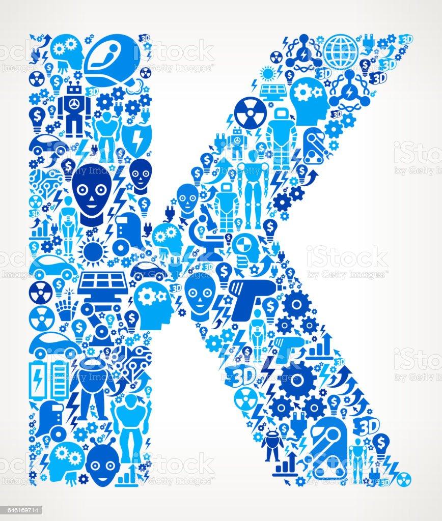Letter K Robots and Robotics Automation Pattern vector art illustration