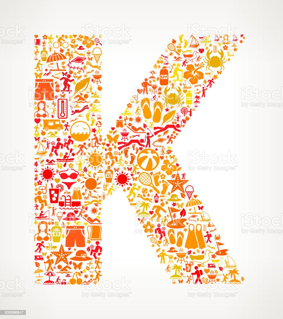 Letter K Summer and Vacation royalty free vector art Pattern royalty-free stock vector art