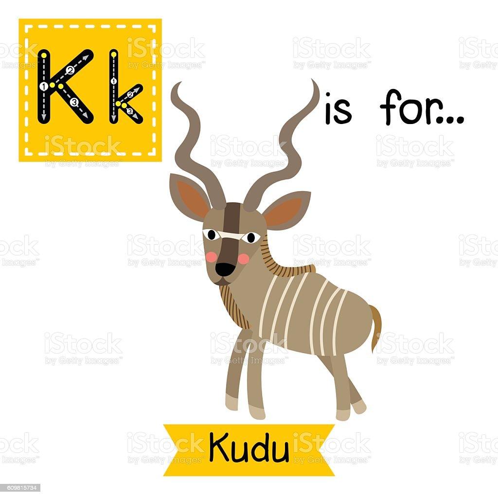 Letter K tracing. Kudu. vector art illustration
