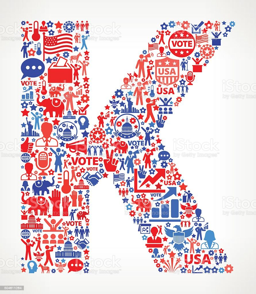 Letter k Vote and Elections USA Patriotic Icon Pattern vector art illustration