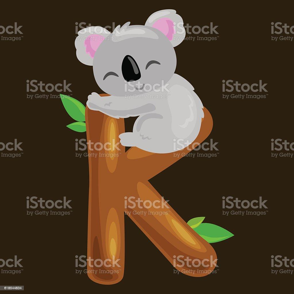 letter K with koala animal for kids abc education in vector art illustration