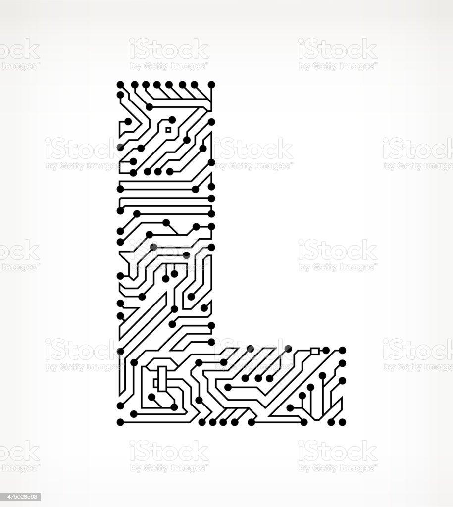 Letter L Circuit Board on White Background vector art illustration