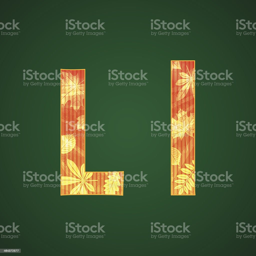Letter L in the autumn style royalty-free stock vector art