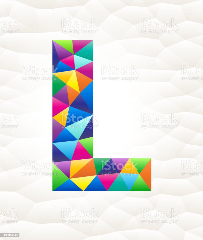 Letter L on triangular pattern mosaic royalty free vector art royalty-free stock vector art