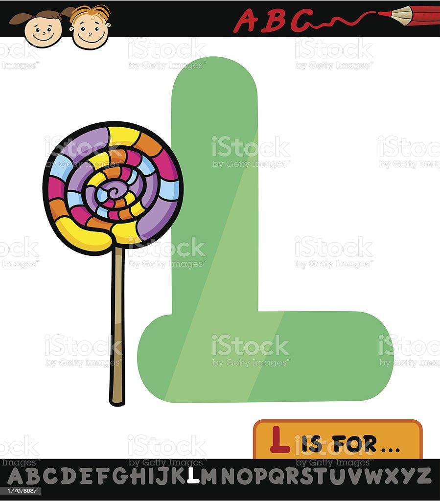 letter l with lollipop cartoon illustration royalty-free stock vector art