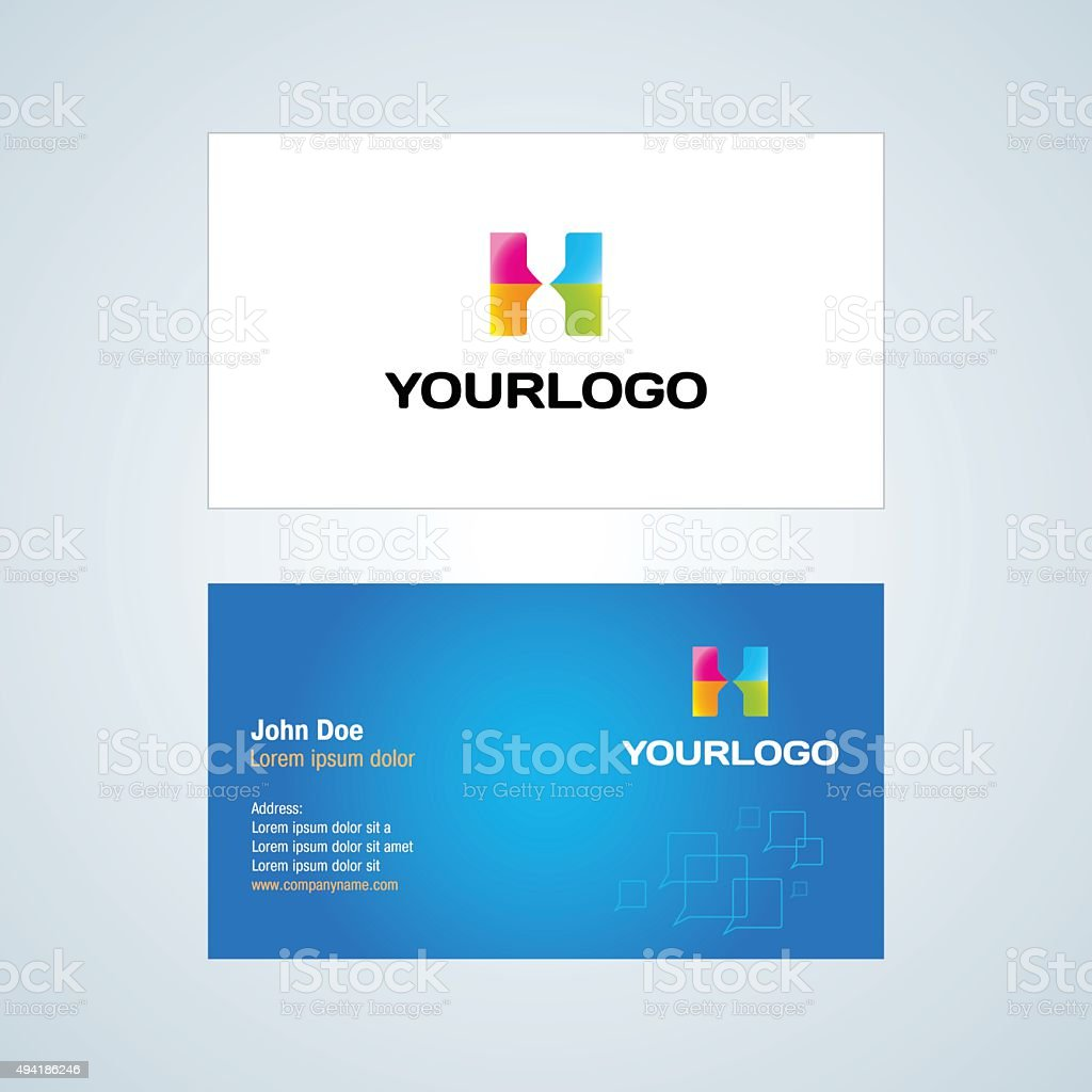 H Letter logo Corporate Business card. H letter abstract logotype vector art illustration