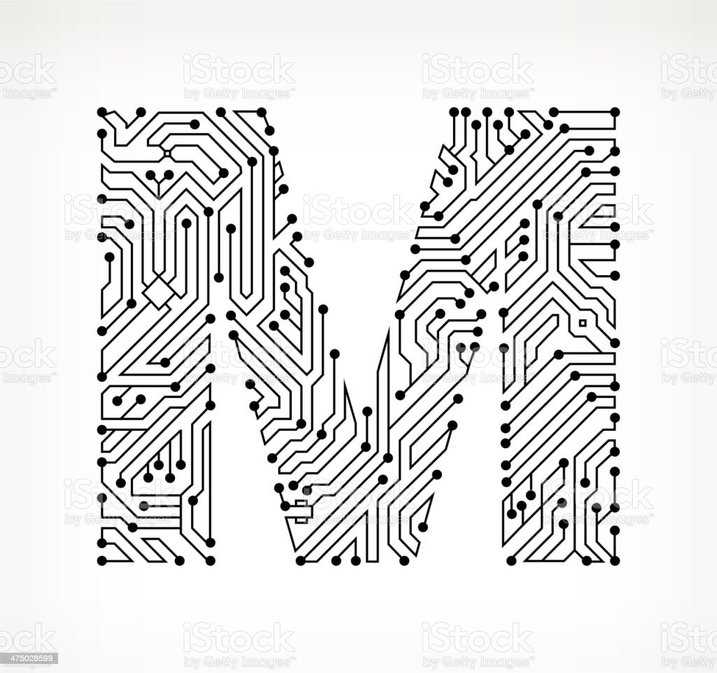Letter M Circuit Board on White Background vector art illustration