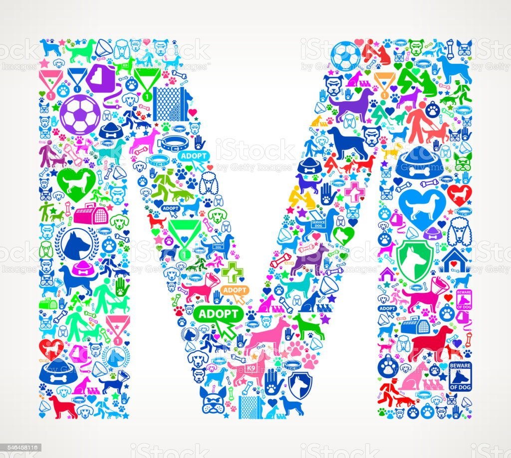 Letter M Dog and Canine Pet Colorful Icon Pattern vector art illustration