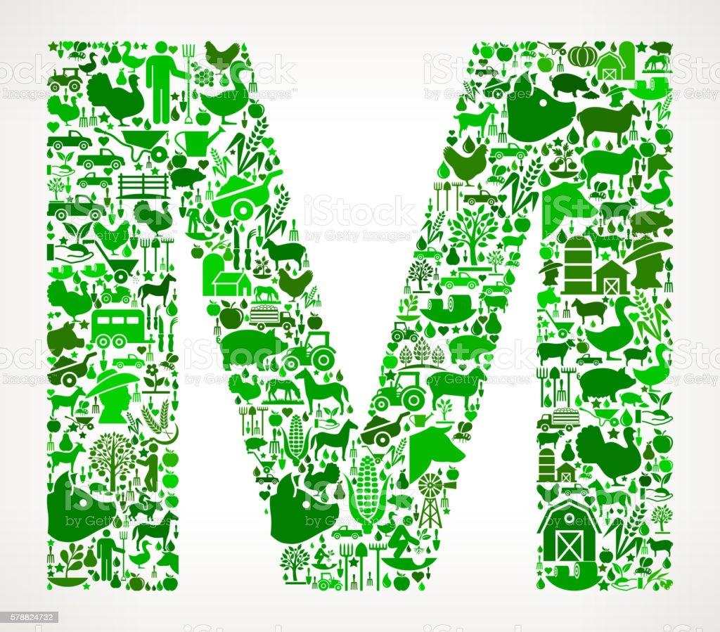 Letter M Farming and Agriculture Green Icon Pattern vector art illustration